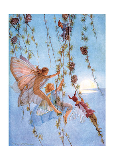 The Fairies Playing Among the Flowers  BLANK INSIDE  Our blank notecards are custom printed at our location in Seattle, WA. They come bagged with an envelope. We love illustration art from old children's books and early, printed ephemera. These cards reflect this interest in bringing delightful art back to life