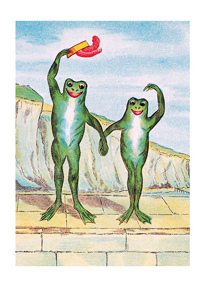Waving Frogs  BLANK INSIDE  Our blank notecards are custom printed at our location in Seattle, WA. They come bagged with an envelope. We love illustration art from old children's books and early, printed ephemera. These cards reflect this interest in bringing delightful art back to life.