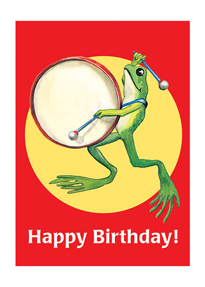Frog Playing Big Drum  OUTSIDE GREETING: Happy Birthday  INSIDE GREETING: Have a great day!  Scottish illustrator Stewart Orr depicts an exuberant frog banging a drum in this colorful image sure to bring a smile.  Our greeting cards are custom printed at our location in Seattle, WA. They come bagged with an envelope. We love illustration art from old children's books and early, printed ephemera. These cards reflect this interest in bringing delightful art back to life.