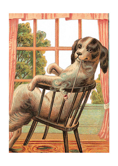 Dog in Chair These prints are made at our location in Seattle, WA. They have a thick, white backing board and are sealed in clear bags. Each is suitable for framing at 11 inches x 14 inches or can be used as is for wall display. Our goal is to bring back to life these wonderful illustrations from old-fashioned, children's books and from early advertising art.