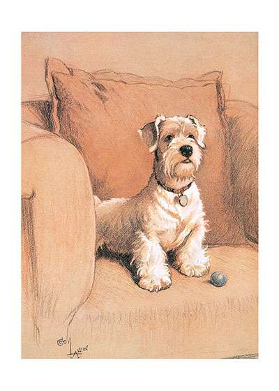 Sealyham Terrier Cecil Aldin (1870-1935) was a prolific English artist and illustrator. While living in London, he became friends with the Beggarstaff Brothers (William Nicholson and James Pryde), with John Hassall, Phil May and Dudley Hardy, and their influence on his work was great. Aldin, however, developed his own style and was particularly skillful at conveying the humor, love and antics of the dogs and other animal friends. He did a great deal of advertising work, including posters, for such companies as Bovril, Coleman and Cadbury's. Royal Doulton, the china manufacturer, produced about sixty items with Aldin's art between 1910 and 1939. The obituary in {The London Times} asserted that there never yet has been a painter of dogs fit to hold a candle to him.    Cecil Aldin has always been a favorite of ours here at Green Tiger Press, and we have laughed at his wonderful illustrations and reproduced many of them over the years. INSIDE GREETING:  Our blank notecards are custom printed at our location in Seattle, WA. They come bagged with an envelope. We love illustration art from old children's books and early, printed ephemera. These cards reflect this interest in bringing delightful art back to life.   Our blank notecards are custom printed at our location in Seattle, WA. They come bagged with an envelope. We love illustration art from old children's books and early, printed ephemera. These cards reflect this interest in bringing delightful art back to life.