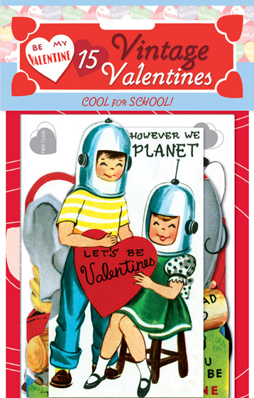 15 Vintage Valentines: Cool for School Die-cut retro valentines!  With fifteen unique die-cut reproductions of vintage valentines featuring adorable animals and sweet children, plus printed envelopes, our {Cool for School} card packet brings the whimsy on Valentine's Day.  Each of the fifteen images was carefully selected and reproduced from Laughing Elephant's treasure trove of antique paper ephemera.  Our six Valentine's Day card packets, each only $10.95, include 15 different die-cut cards with decorated envelopes. The cards measure approximately four by six inches.