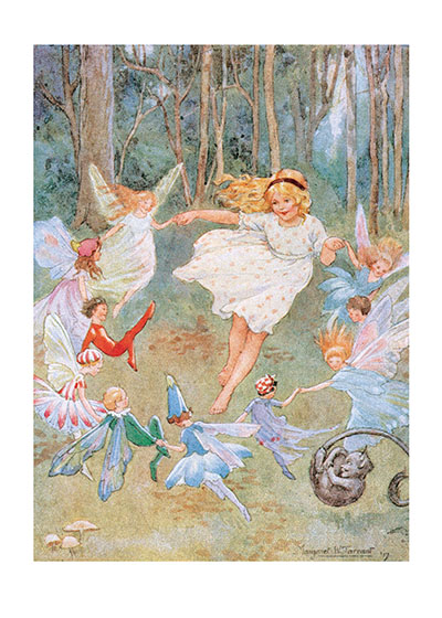 "Dancing With the Fairies | Children & Fairies Greeting Cards ""Our blank notecards are custom printed at our location in Seattle, WA. They come bagged with an envelope. We love illustration art from old children's books and early, printed ephemera. These cards reflect this interest in bringing delightful art back to life."""