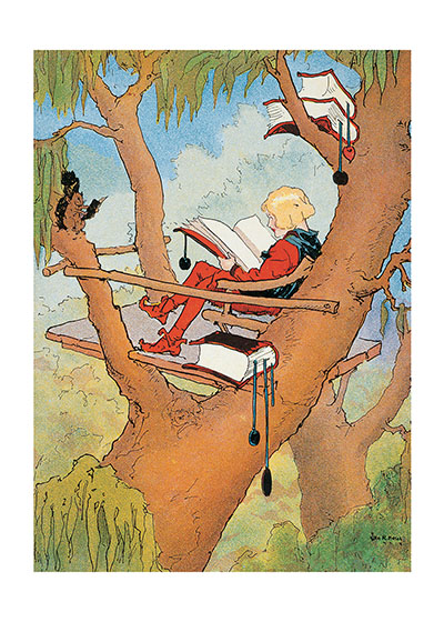Jester Reading in Tree Card  BLANK INSIDE  Our blank notecards are custom printed at our location in Seattle, WA. They come bagged with an envelope. We love illustration art from old children's books and early, printed ephemera. These cards reflect this interest in bringing delightful art back to life