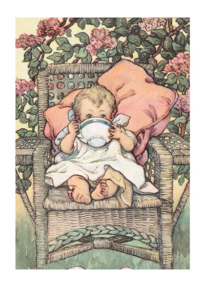 Baby With Big Cup  BLANK INSIDE  Our blank notecards are custom printed at our location in Seattle, WA. They come bagged with an envelope. We love illustration art from old children's books and early, printed ephemera. These cards reflect this interest in bringing delightful art back to life.
