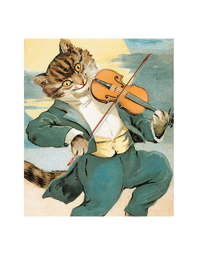 A Cat Playing the Fiddle These prints are made at our location in Seattle, WA. They have a thick, white backing board and are sealed in clear bags. Each is suitable for framing at 11 inches x 14 inches or can be used as is for wall display. Our goal is to bring back to life these wonderful illustrations from old-fashioned, children's books and from early advertising art.
