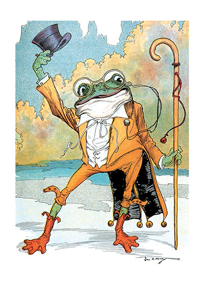 A Frog Doffing His Hat | Storybook Classics Art Prints These prints are made at our location in Seattle, WA. They have a thick, white backing board and are sealed in clear bags. Each is suitable for framing at 11 inches x 14 inches or can be used as is for wall display. Our goal is to bring back to life these wonderful illustrations from old-fashioned, children's books and from early advertising art.