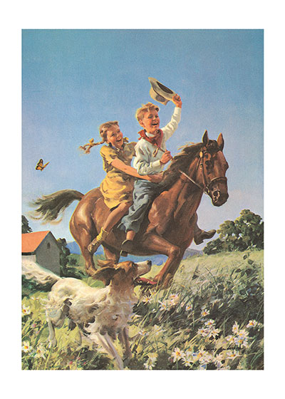 A Boy and A Girl Riding a Horse  INSIDE GREETING: You're as young as your spirit. Happy Birthday!  This lively mid-century textbook illustration captures the freedom of riding horses and the special bond of animals and children. The artist, in rendering the smiles on the children's faces, in turn brings a smile to the face of the viewer.  Our greeting cards are custom printed at our location in Seattle, WA. They come bagged with an envelope. We love illustration art from old children's books and early, printed ephemera. These cards reflect this interest in bringing delightful art back to life.