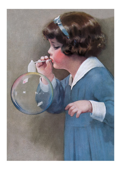 Girl Bubble Blower | Birthday Greeting Cards