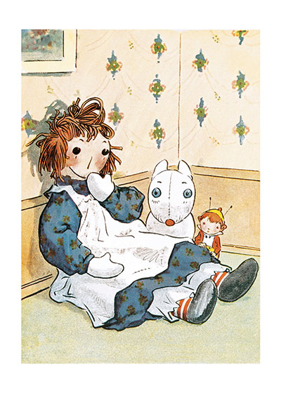 Raggedy Ann Blank  BLANK INSIDE  Our blank notecards are custom printed at our location in Seattle, WA. They come bagged with an envelope. We love illustration art from old children's books and early, printed ephemera. These cards reflect this interest in bringing delightful art back to life