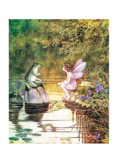 Frog & Fairy Talking Ida Rentoul Outhwaite (1888 - 1960) was an Australian illustrator of children's books. She was masterful at depicting fairies and the natural world. Her books include Elves and Fairies (1916), The Enchanted Forest (1921)and Blossom: A Fairy Story (1928).  These prints are created by a process named after a French word for 'spray'.  The inks used in this process have a much higher resistance to fading than lithographic printing inks, which makes this kind of printing particularly suitable for prints being used in wall decor.   Our prints are made at our location in Seattle, WA. They have a thick, white backing board and are sealed in clear bags. Each is suitable for framing at 11 inches x 14 inches or can be used as is for wall display. Our goal is to bring back to life these wonderful illustrations from old-fashioned, books for children and from early advertising art.