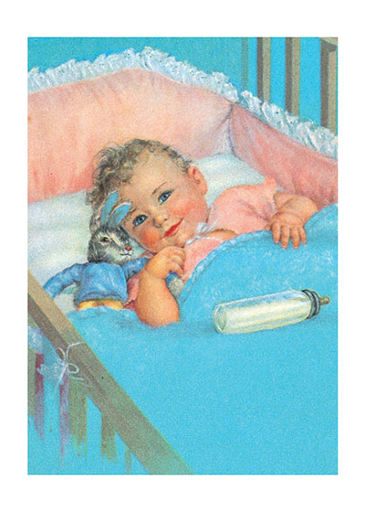 "Baby With Bunny Toy Blank Greeting Card | Baby Greeting Cards ""Our blank notecards are custom printed at our location in Seattle, WA. They come bagged with an envelope. We love illustration art from old children's books and early, printed ephemera. These cards reflect this interest in bringing delightful art back to life."""