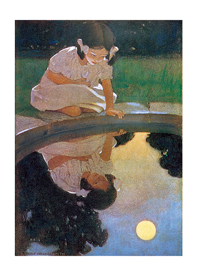 A Little Girl Looking At Her Reflection In A Pond Things, like the moon, look even more magical reflected in the water.  Jessie Willcox Smith (1853-1935) was taught by Howard Pyle and became one of America's most beloved portrayers of children through her many books and the more than 200 covers she made for {Good Houskeeping} magazine.  These prints are made at our location in Seattle, WA. They have a thick, white backing board and are sealed in clear bags. Each is suitable for framing at 11 inches x 14 inches or can be used as is for wall display. Our goal is to bring back to life these wonderful illustrations from old-fashioned, children's books and from early advertising art.These prints are made at our location in Seattle, WA. They have a thick, white backing board and are sealed in clear bags. Each is suitable for framing at 11 inches x 14 inches or can be used as is for wall display. Our goal is to bring back to life these wonderful illustrations from old-fashioned, children's books and from early advertising art.