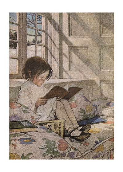 Girl Reading at Window - Picture Books in Winter These prints are made at our location in Seattle, WA. They have a thick, white backing board and are sealed in clear bags. Each is suitable for framing at 11 inches x 14 inches or can be used as is for wall display. Our goal is to bring back to life these wonderful illustrations from old-fashioned, children's books and from early advertising art.