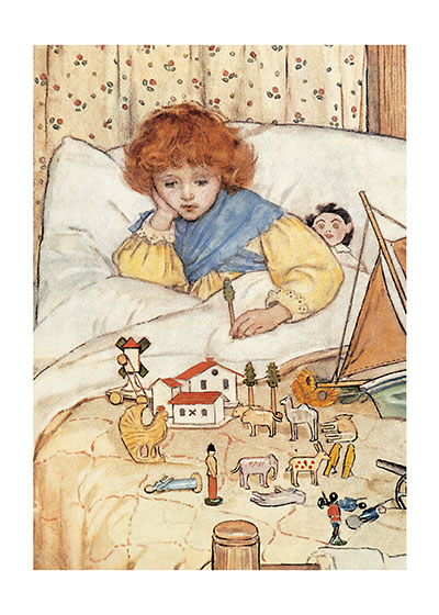 A Girl In Bed With Her Toys  INSIDE GREETING: Times of rest can feed the soul as well as heal the body.  A child plays with her toys in bed in this illustration that originally accompanied Robert Louis Stevenson's 'Land of Counterpane.'