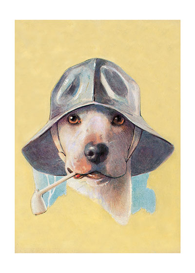 "Dog in Hat w/ Pipe Art Print | Delightful Dogs Animals Art Prints ""These prints are made at our location in Seattle, WA. They have a thick, white backing board and are sealed in clear bags. Each is suitable for framing at 11 inches x 14 inches or can be used as is for wall display. Our goal is to bring back to life these wonderful illustrations from old-fashioned, children's books and from early advertising art."""