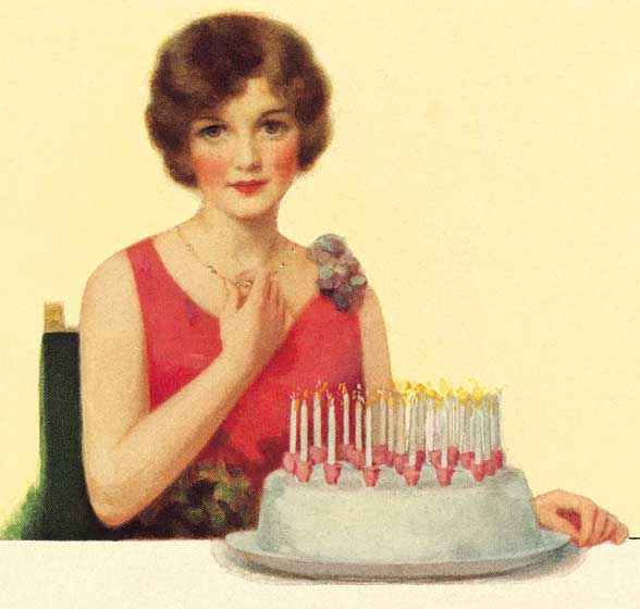 Lady With Birthday Cake