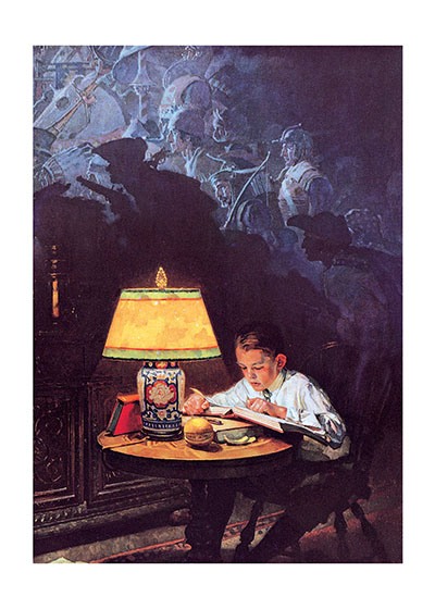 Boy Reading By Lamplight  BLANK INSIDE  Our blank notecards are custom printed at our location in Seattle, WA. They come bagged with an envelope. We love illustration art from old children's books and early, printed ephemera. These cards reflect this interest in bringing delightful art back to life.