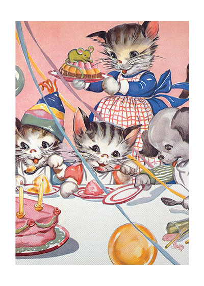 Cats' Birthday Party  INSIDE GREETING: A grand celebration for your birthday.  Pretty kittens are celebrating with cake and other treats in this perfect card for a little girl's (or a big girl's!) birthday.  Our greeting cards are custom printed at our location in Seattle, WA. They come bagged with an envelope. We love illustration art from old children's books and early, printed ephemera. These cards reflect this interest in bringing delightful art back to life.