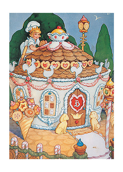 Gingerbread House  BLANK INSIDE  Our blank notecards are custom printed at our location in Seattle, WA. They come bagged with an envelope. We love illustration art from old children's books and early, printed ephemera. These cards reflect this interest in bringing delightful art back to life.