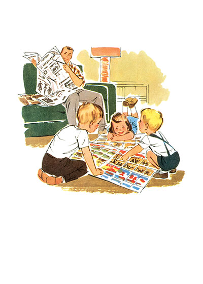 Family Reading Newspaper  BLANK INSIDE  Our blank notecards are custom printed at our location in Seattle, WA. They come bagged with an envelope. We love illustration art from old children's books and early, printed ephemera. These cards reflect this interest in bringing delightful art back to life