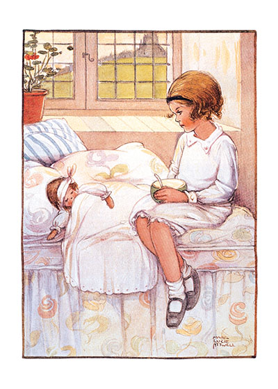 Nursing the Doll Blank These prints are made at our location in Seattle, WA. They have a thick, white backing board and are sealed in clear bags. Each is suitable for framing at 11 inches x 14 inches or can be used as is for wall display. Our goal is to bring back to life these wonderful illustrations from old-fashioned, children's books and from early advertising art.