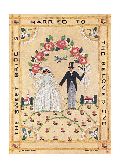 Wedding Embroidery  BLANK INSIDE  Our blank notecards are custom printed at our location in Seattle, WA. They come bagged with an envelope. We love illustration art from old children's books and early, printed ephemera. These cards reflect this interest in bringing delightful art back to life