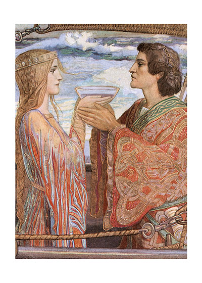 Tristan and Isolde The legendary lovers Tristan and Isolde, here  depicted by Scottish Symbolist painter John Duncan drinking the love potion that seals them for all time.   Our blank notecards are custom printed atour location in Seattle, WA. They come bagged with an envelope. We love illustration art from old children's books and early, printed ephemera. These cards reflect this interest in bringing delightful art back to life.