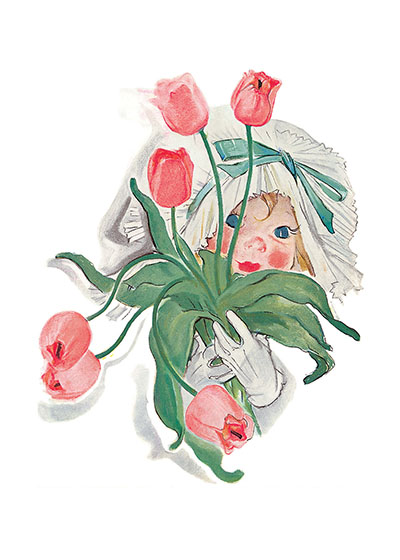 An Enchanting Child With Pink Tulips INSIDE GREETING:  An armload of thanks!  Our notecards are custom printed at our location in Seattle, WA. They come bagged with an envelope. We love illustration art from old children's books and early, printed ephemera. These cards reflect this interest in bringing delightful art back to life.