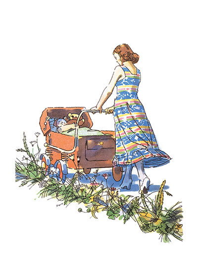Mother With Carriage These prints are made at our location in Seattle, WA. They have a thick, white backing board and are sealed in clear bags. Each is suitable for framing at 11 inches x 14 inches or can be used as is for wall display. Our goal is to bring back to life these wonderful illustrations from old-fashioned, children's books and from early advertising art.