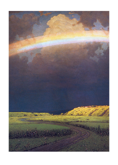 "Rainbow Over Green Field | Nature's Beauty Art Prints ""These prints are made at our location in Seattle, WA. They have a thick, white backing board and are sealed in clear bags. Each is suitable for framing at 11 inches x 14 inches or can be used as is for wall display. Our goal is to bring back to life these wonderful illustrations from old-fashioned, children's books and from early advertising art."""