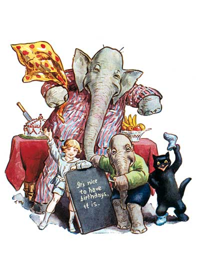 Elephant w/ Birthday Message  BLANK INSIDE  Our blank notecards are custom printed at our location in Seattle, WA. They come bagged with an envelope. We love illustration art from old children's books and early, printed ephemera. These cards reflect this interest in bringing delightful art back to life.