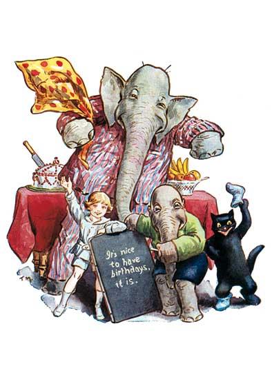 Elephant W Birthday Message