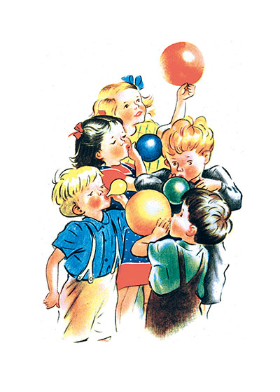 Children Blowing Balloons These prints are made at our location in Seattle, WA. They have a thick, white backing board and are sealed in clear bags. Each is suitable for framing at 11 inches x 14 inches or can be used as is for wall display. Our goal is to bring back to life these wonderful illustrations from old-fashioned, children's books and from early advertising art.
