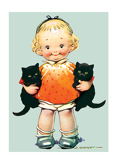 Little Girl With Kittens These prints are made at our location in Seattle, WA. They have a thick, white backing board and are sealed in clear bags. Each is suitable for framing at 11 inches x 14 inches or can be used as is for wall display. Our goal is to bring back to life these wonderful illustrations from old-fashioned, children's books and from early advertising art.