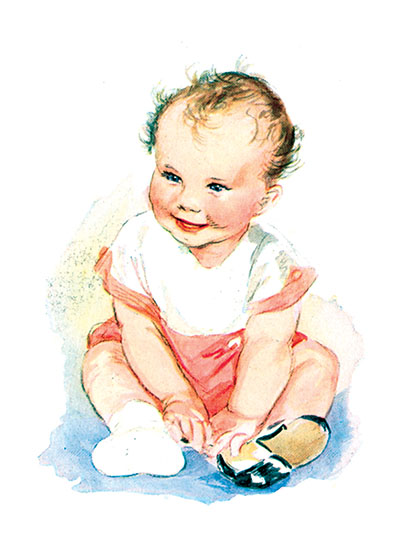 Baby Putting On Shoe  INSIDE GREETING: A baby is someone just the size of a hug.  Our greeting cards are custom printed at our location in Seattle, WA. They come bagged with an envelope. We love illustration art from old children's books and early, printed ephemera. These cards reflect this interest in bringing delightful art back to life.