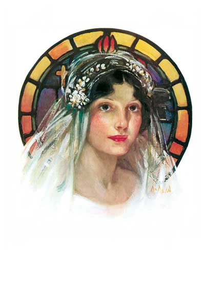 Bride in Stained Glass Window  BLANK INSIDE  Our blank notecards are custom printed at our location in Seattle, WA. They come bagged with an envelope. We love illustration art from old children's books and early, printed ephemera. These cards reflect this interest in bringing delightful art back to life