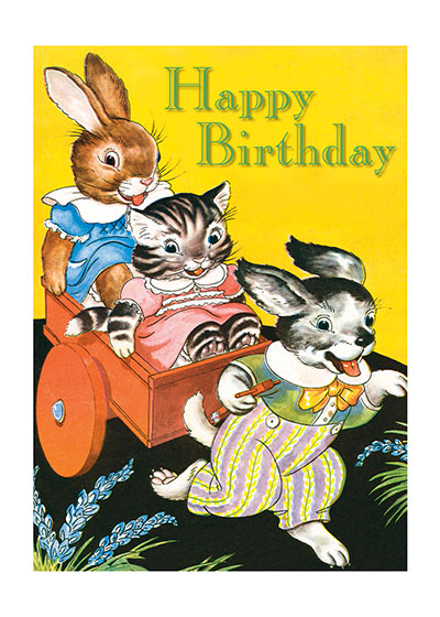 Rabbit, Cat & Dog  OUTSIDE GREETING: Happy Birthday  INSIDE GREETING: You're never too old to do goofy stuff. - Ward Cleaver  Adorable animals bring birthday smiles in this happiest of birthday cards.  Our greeting cards are custom printed at our location in Seattle, WA. They come bagged with an envelope. We love illustration art from old children's books and early, printed ephemera. These cards reflect this interest in bringing delightful art back to life.