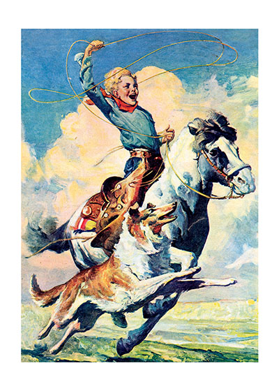 A Boy Riding a Horse  INSIDE GREETING: Yippie-Yah - It's your birthday!  A boy, his dog and his horse: an iconic trio of Americana, depicted here in all their vivacity by Illustrator of the American West Karl Godwin.