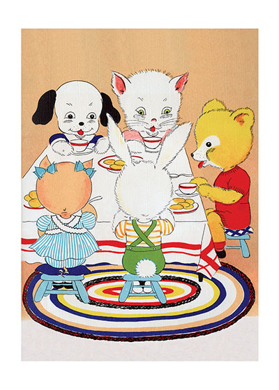 Animal Tea Time | Animal Friends Animals Greeting Cards Our blank notecards are custom printed at our location in Seattle, WA. They come bagged with an envelope. We love illustration art from old children's books and early, printed ephemera. These cards reflect this interest in bringing delightful art back to life.