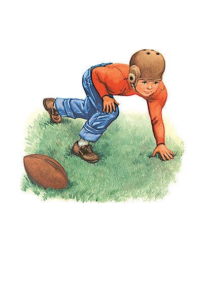 The Littlest Football Player  INSIDE GREETING: One yard at a time...You'll get there!  Our greeting cards are custom printed at our location in Seattle, WA. They come bagged with an envelope. We love illustration art from old children's books and early, printed ephemera. These cards reflect this interest in bringing delightful art back to life.