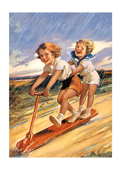 "As Fast as We Can! | Friendship Greeting Cards ""INSIDE GREETING: A little rain won't stop the fun."