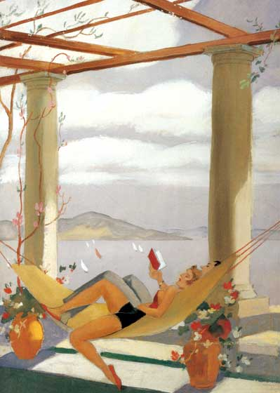 Couple Reading in Hammock These prints are made at our location in Seattle, WA. They have a thick, white backing board and are sealed in clear bags. Each is suitable for framing at 11 inches x 14 inches or can be used as is for wall display. Our goal is to bring back to life these wonderful illustrations from old-fashioned, children's books and from early advertising art.