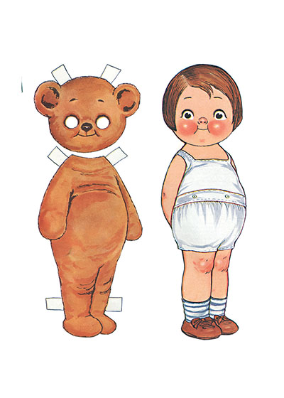 Girl and Bear Paper Doll  BLANK INSIDE  Our blank notecards are custom printed at our location in Seattle, WA. They come bagged with an envelope. We love illustration art from old children's books and early, printed ephemera. These cards reflect this interest in bringing delightful art back to life.