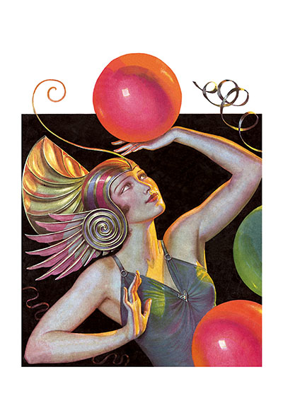 "Costumed Lady with Balloons | Women Greeting Cards ""Our blank notecards are custom printed at our location in Seattle, WA. They come bagged with an envelope. We love illustration art from old children's books and early, printed ephemera. These cards reflect this interest in bringing delightful art back to life."""