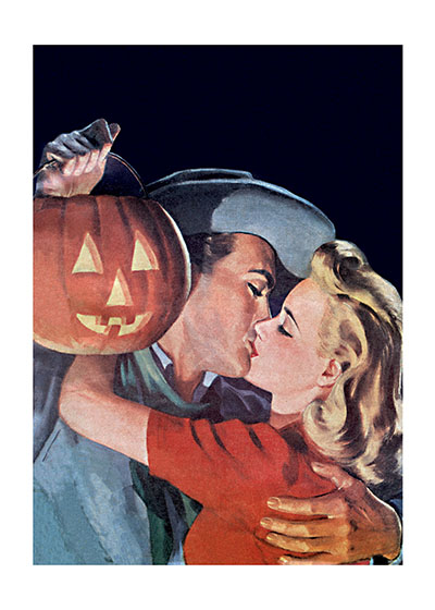 Halloween Kiss Maybe a Jack-O-Lantern can be used the same way mistletoe is used at Christmas. This couple seems to think so.  Our blank notecards are custom printed at our location in Seattle, WA. They come bagged with an envelope. We love illustration art from old children's books and early, printed ephemera. These cards reflect this interest in bringing delightful art back to life.