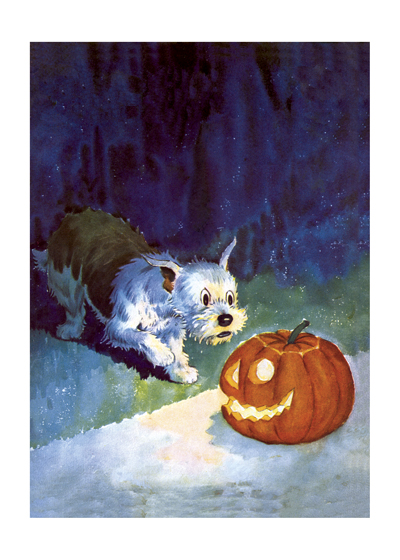 Dog and Jack-O-Lantern This curious dog being surprised by a jack-o-lantern is from comics pioneer Edwina Dumm (1893 - 1990), the first female full time editorial cartoonist in the United States.  INSIDE GREETING: Happy Halloween