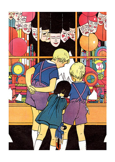 Children at Halloween Toyshop These children are having a good time deciding what Halloween costumes and masks and favors they will have for their Halloween celebration.  This illustration is from Maginel Wright Barney, a prolific children's illustrator and sister of Frank Lloyd Wright.  These prints are made at our location in Seattle, WA. They have a thick, white backing board and are sealed in clear bags. Each is suitable for framing at 11 inches x 14 inches or can be used as is for wall display. Our goal is to bring back to life these wonderful illustrations from old-fashioned, children's books and from early advertising art.