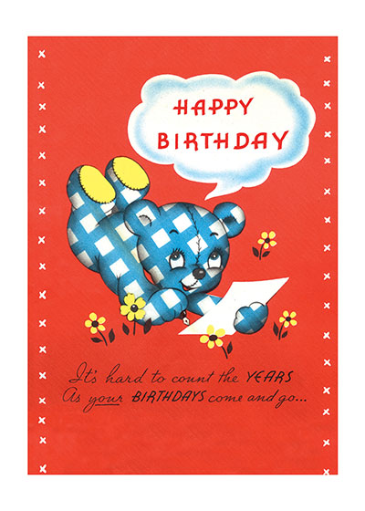 Gingham Teddy Bear With Birthday Card  BLANK INSIDE  Our blank notecards are custom printed at our location in Seattle, WA. They come bagged with an envelope. We love illustration art from old children's books and early, printed ephemera. These cards reflect this interest in bringing delightful art back to life.