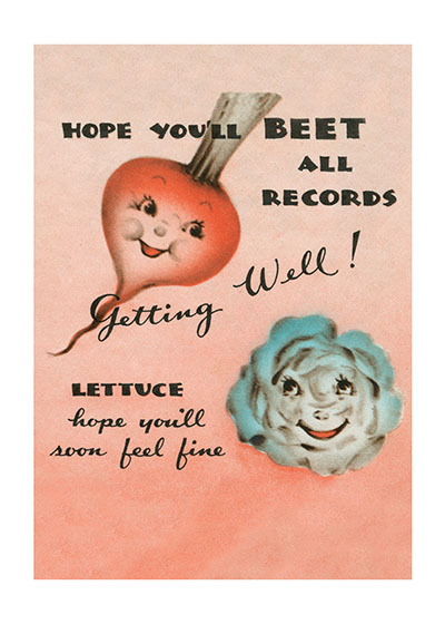 Vegetables Making Puns  Our blank notecards are custom printed at our location in Seattle, WA. They come bagged with an envelope. We love illustration art from old children's books and early, printed ephemera. These cards reflect this interest in bringing delightful art back to life.